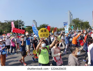 KAOHSIUNG, TAIWAN -- NOVEMBER 11, 2018: Demonstrators take part in a  protest march against the problem of serious air pollution.