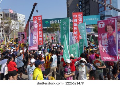 KAOHSIUNG, TAIWAN -- NOVEMBER 11, 2018: A speaker addresses protesters who have gathered to take part in a demonstration against the problem of serious air pollution.