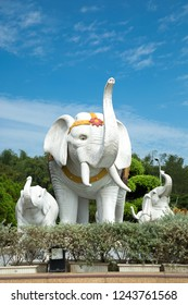 KAOHSIUNG, TAIWAN- NOVEMBER 19, 2018:  White elephant statue and babies measuring five-meter tall and six-meter long, symbolizes the conception of Prince Siddhartha who entered the womb of his mother