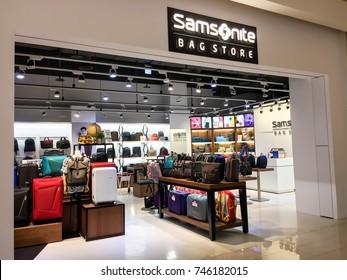 Kaohsiung , Taiwan - Oct 12,2017 : Samsonite shop bag store in Toroko mall  international retailers of men's, women's and children's apparel and accessories