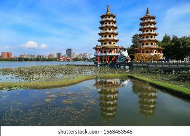 Kaohsiung, Taiwan - October 1, 2019: Dragon and Tiger towers at Lotus Lake