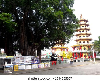 Kaohsiung, Taiwan, October 10, 2019: Lotus Pond, Lotus Pond Scenic Area, Dragon Tiger Tower is a temple located in Lotus Lake. One of the towers is the Tiger Tower and the other is the Dragon Tower.