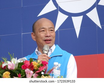 KAOHSIUNG, TAIWAN -- OCTOBER 10, 2019: Kaohsiung mayor and KMT presidential candidate Han Kuo-yu speaks at the national day celebrations, a free and public event.