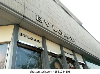 Kaohsiung, Taiwan, October 15, 2019: BVLGARI at the Taiwan Shopping. A BVLGARI jewelry watch and fashion outlet. Bulgari was founded in Rome in 1884 as a jewelry store.
