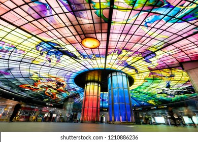 Kaohsiung, Taiwan - October 19, 2018: A view of the Dome of Light at Formosa Boulevard Station, the central station of Kaohsiung subway system in Kaohsiung City.