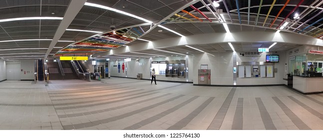 KAOHSIUNG, TAIWAN -- OCTOBER 27, 2018: Panoramic view of a brand new station of the recently completed project to move street level train tracks underground.