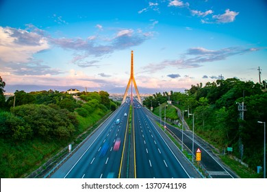 "Kaohsiung, Taiwan, provides a highway vehicle crossing the bridge between Kaohsiung and Pingtung ""Gaopingxi"". The name is: ""Slanted Bridge"" day and night landscape."
