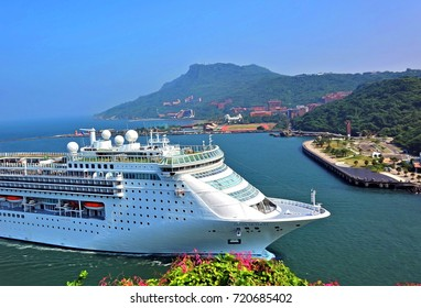 KAOHSIUNG, TAIWAN -- SEPTEMBER 12 , 2017: The luxury cruise line Costa Victoria coming from Japan approaches Kaohsiung Port.