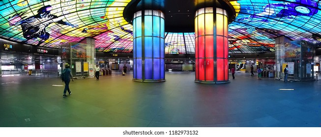 KAOHSIUNG, TAIWAN -- SEPTEMBER 13, 2018: The concourse of the Formosa Boulevard Station of the Kaohsiung MRT features a large public art glass installation.