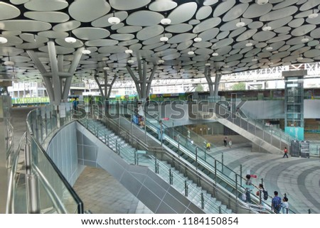 KAOHSIUNG, TAIWAN -- SEPTEMBER 13, 2018:  A view of the completed first stage of the new Kaohsiung Train Station project.