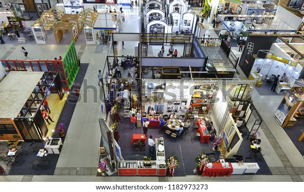KAOHSIUNG, TAIWAN -- SEPTEMBER 13, 2018: A view of the 2018 Building Material Expo at the Kaohsiung Exhibition Center.