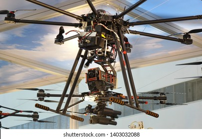 KAOHSIUNG, TAIWAN -- SEPTEMBER 29, 2018: Drones eqipped with electronics and weapons are on display at the Kaohsiung International Maritime & Defence Expo