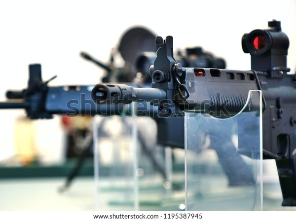 KAOHSIUNG, TAIWAN -- SEPTEMBER 29, 2018: High velocity rifles are on display at the Kaohsiung International Maritime & Defence Expo