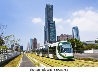 Kaohsiung, Taiwan : View of light rail train and the skyline in Kaohsiung, Taiwan on April 03, 2017. The light rail system in Kaohsiung is the first light rail transit in Taiwan.