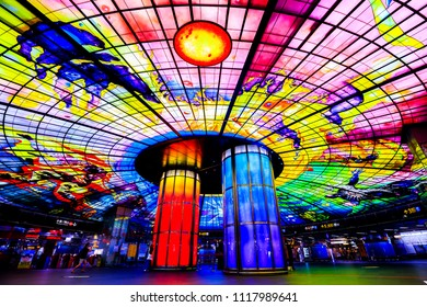 kaohsiung,taiwan - May 11,2018 : The Dome of Light at Formosa Boulevard MRT station in Sinsing District, Kaohsiung Taiwan.