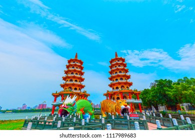 kaohsiung,taiwan - May 11,2018 : Lotus Pond Lianchihtan is a artificial lake and popular tourist destination on the east side of Zuoying District in Kaohsiung City in southern Taiwan.