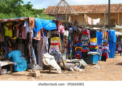 Kaolack, Senegal - September 01, 2012: Clothes stand in an open-air market in the street of Kaolack in Senegal.