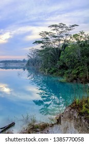 Kaolin lake is a lake located in Belitung _ Indonesia which has the colour of pure white land and blue water.