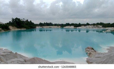 Kaolin Lake. The man-made lake, turned from a mining ground holes, is located in Air Raya Village, Tanjung Pandan, Belitung Island, Indonesia.