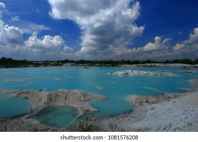 Kaolin Lake This is the kaolin lake at belitung island. The colour of the lake came from kaolin, so the water colour is blue. the rest of the kaolin mine became a tourist destination