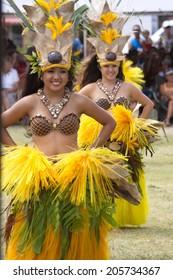 Kapa'a Beach Park, Kapaa, Kauai, Hawaii - August 1, 2010: Young women perform Tahitian dance in Kapa'a Beach Park on August 1, 2010. Kapa'a Beach Park, Kapaa, Kauai, HI.