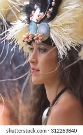 Kapa'a Beach Park, Kapaa, Kauai, Hawaii  - August 1, 2010: Young woman performs Tahitian dance at the Heiva I Kauai August 1, 2010 in Kapa'a Beach Park, Kapaa, Kauai, HI.
