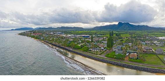 Kapaa Kauai Hawaii Aerial Drone View