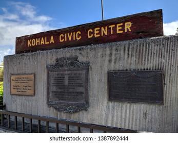 Kapaau, Hawaii, United States - October 22, 2018:  Kohala Civic Center - Sign and Memorial.