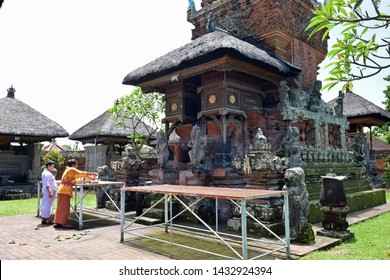 Kapal, Indonesia - March 19, 2019: Sacrificial offering in the Pura Sada Temple