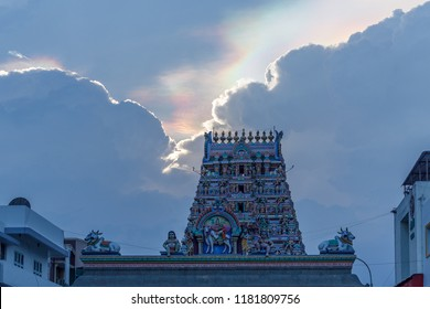 Kapaleeshwarar Temple,Mylapore,Chennai, India Hindu god and goddess sculptures on temple tower.low light photography with selective focus on subject with iridium pattern in sky