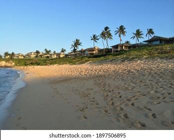 Kapalua, HI - October 27 2013: Luxury homes facing Onleoa Beach on Maui island