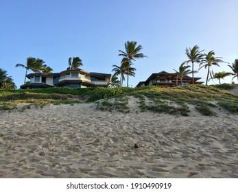 Kapalua, HI - October 27 2013: Luxury villas facing Oneloa Beach on Maui island