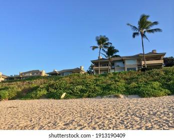 Kapalua, HI - October 27 2013: Luxury villas next to Oneloa Beach on Maui island