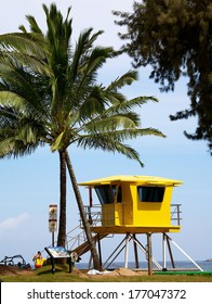 KAPALUA, MAUI - CIRCA OCTOBER 2013: Lifeguard booth at DT Fleming Beach in Maui Hawaii. The beach was been named America's Best Beach in 2003 and is a popular surfing and bodyboarding site