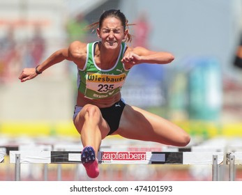 KAPFENBERG, AUSTRIA - AUGUST 9, 2015: Stephanie Bendrat (#235 Austria) participates in the national track and field championship.