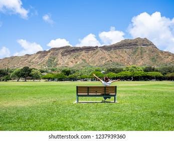 Kapiolani Park Bench - Diamond Head