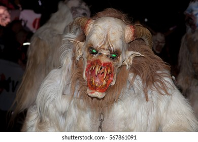 KAPLICE,KRAMPUS SHOW, DECEMBER10: The parade of masks demonic creatures, Czech republic, December 10, 2016