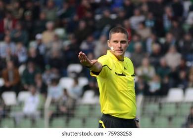 KAPOSVAR, HUNGARY - APRIL 16: Sandor Ando-Szabo (referee) in action at a Hungarian National Championship soccer game - Kaposvar vs MTK Budapest on April 16, 2011 in Kaposvar, Hungary.