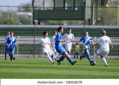 KAPOSVAR, HUNGARY - APRIL 20: Alexandra Pas (white 9) in action at Hungarian Cup Final women soccer game  MTK (blue) vs. Viktoria FC (white) April 20, 2011 in Kaposvar, Hungary.