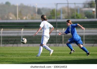 KAPOSVAR, HUNGARY - APRIL 20: Zsofia Racz (white 15) in action at Hungarian Cup Final women soccer game  MTK (blue) vs. Viktoria FC (white) April 20, 2011 in Kaposvar, Hungary.