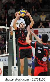 KAPOSVAR, HUNGARY - APRIL 24: Robert Koch (L) posts the ball at a Hungarian National Championship Final volleyball game Kaposvar vs. Kecskemet, April 24, 2010 in Kaposvar, Hungary.
