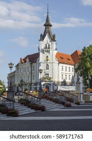 KAPOSVAR, HUNGARY - AUGUST 19, 2015:Kaposvar the capital of Somogy County,  The city has a special atmosphere,in which sensibly the past,the present and the future live together.City Hall,Main square.