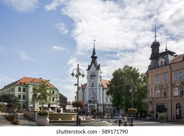 KAPOSVAR, HUNGARY - AUGUST 19, 2015:Kaposvar,the capital of Somogy County,  The city has a special atmosphere,in which sensibly the past,the present and the future live together.Main Square,Town Hall.