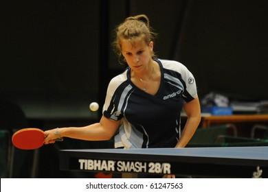KAPOSVAR, HUNGARY - AUGUST 28: Orsolya Nagy in action at a Hungarian National Championship I/B. table tennis game Kaposvar vs. Komlo August 28, 2010 in Kaposvar, Hungary.