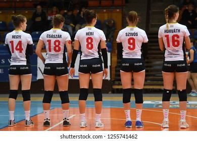 KAPOSVAR, HUNGARY – DECEMBER 2, 2018: Kaposvar players before a Hungarian National Championship volleyball game between Kaposvar (white) and Palota VSN (blue) in Sportcsarnok Kaposvar.