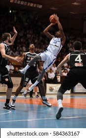 KAPOSVAR, HUNGARY - FEBRUARY 4: Jaytornah Wisseh (white 33) in action at Hungarian Championship basketball game with Kaposvar (white) vs. Pecsi VSK (black) on February 4, 2017 in Kaposvar, Hungary.