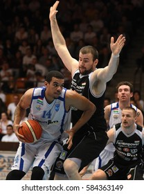 KAPOSVAR, HUNGARY - FEBRUARY 4: Kenneth Simms (white 14) in action at Hungarian Championship basketball game with Kaposvar (white) vs. Pecsi VSK (black) on February 4, 2017 in Kaposvar, Hungary.