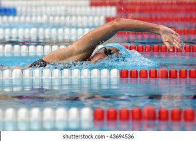 KAPOSVAR, HUNGARY - JUNE 18: Zsuzsanna Jakabos swims at the Hungarian Country Championship on June 18, 2008 in Kaposvar, Hungary.