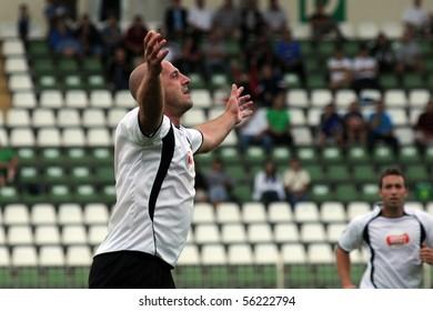 KAPOSVAR, HUNGARY - JUNE 19: Almir Filipovic celebrates his goal at a Somogy County Championship II. final game Balatonszabadi vs. Nemesvid - June 19, 2010 in Kaposvar, Hungary.