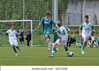KAPOSVAR, HUNGARY - MAY 29: Milan Mayer (10) in action at the Hungarian National Championship under 15 game between Kaposvari Rakoczi and Paks May 29, 2010 in Kaposvar, Hungary.